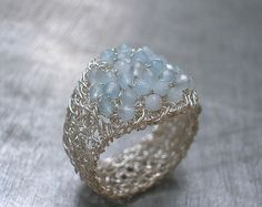 Angelite Ring Fine Silver Wire Crochet Gemstone por vivart70