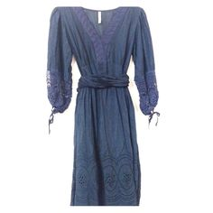 Blue Silk dress Silk/cotton blend. Fully lined skirt and slightly sheer bodice. Fits size 6. Not Monoreno Dresses