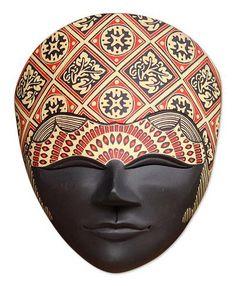 Wood batik mask, 'Celebration' by NOVICA