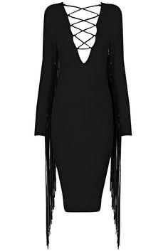 Dream it Wear it - Long Sleeve Tassel Lace Up Midi Bandage Dress Black, 128,32€ (http://www.dreamitwearit.com/bandage-dresses/long-sleeve-tassel-lace-up-midi-bandage-dress-black/)