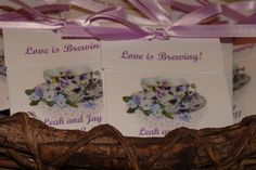 Viola  Personalized  Teacup Tea Bag Party Favors for Bridal Shower or Wedding Birthday Celebration. $16.20, via Etsy.