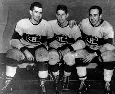 Habs linemates Maurice Richard, Elmer Lach and Toe Blake, otherwise known as the Punch Line. In the three finished first (Lach), second (Richard), and third (Blake) in scoring for the NHL. Montreal Canadiens, Mtl Canadiens, Ice Hockey Players, Nhl Players, Hockey Teams, Maurice Richard, Bruins De Boston, Hockey Pictures, Der Club