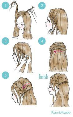 Tutorial de penteado com trança frontal, torcidinho e efeito meio preso.