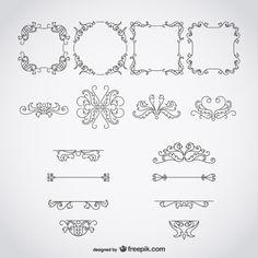 Quadros e ornamentos caligráficos Vetor grátis