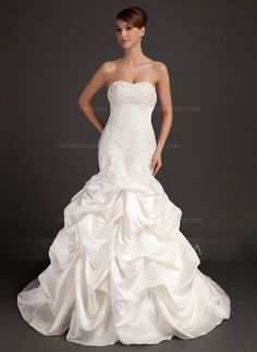 Trumpet/Mermaid Sweetheart Chapel Train Satin Wedding Dress With Beading Appliques Lace (002015486) - JJsHouse