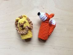 Lion and Fox Finger Puppets, Amigurumi Finger Puppets, Aesop Lion and Fox Crochet Finger Puppets, Crochet Toys by life4crafts on Etsy