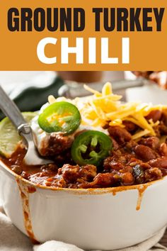 This lean turkey chili recipe is made with ground turkey and lots of beans. It's packed full of flavor and fiber! You'll love this healthy fall chili recipe.