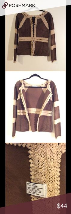 Brown Leather & Knit Jacket 100% Genuine brown leather with beige wool trim. Unlined; leather strap at collar and button closure at waist. Lightweight leather, perfect for Spring/Fall or chilly Summer nights. Throw it over your tee and wear it to a beachside concert. Jesiré Jackets & Coats