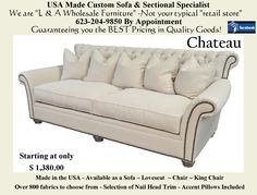 """The """"Chateau"""". Available as a Sofa, Loveseat, Chair or King Chair. Over 800 fabric choices. Choice of nail heads as well. Loveseat Sofa, Upholstered Sofa, Sectional Sofa, Home Furnishing Accessories, Home Furnishings, Furniture Making, Home Furniture, Fairmont Designs, King Chair"""