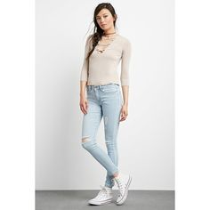 Forever 21 Women's Mid-Rise Skinny Jeans ($25) ❤ liked on Polyvore featuring jeans, forever 21, forever 21 jeans, white denim jeans, skinny fit jeans and mid-rise jeans