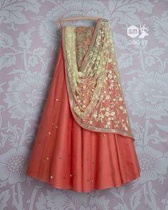 SMF LEH 280 17 | Cherry badla lehenga with soft lemon threadwork dupatta and floral sequin threadwork blouse