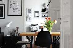 Black and wood in this dining area