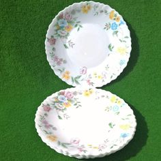 ARCOPAL FESTON HORTENSE PLATE FLORAL ASSIETTE SET MADE IN FRANCE ROSES GARLAND