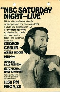 SNL - first season of the weekly late-night American sketch comedy/variety show on NBC, aired during the television season. Saturday Night Live premiered on October 1975 and consisted of a total of 24 episodes, the last of which aired on July Ed Vedder, Billy Preston, Before I Forget, George Carlin, Vintage Tv, Vintage Posters, Vintage Photos, Tv Guide, Thats The Way