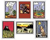 Yellowstone Collection - 6 Blank Greeting Cards - Yellowstone National Park, Vacation, Travel, Wyoming, Montana, Idaho - Wolf, Bison, Bear, Moose - Sarah Angst Fine Artist & Printmaker Bozeman, Montana