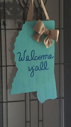 """MS """"Welcome Ya'll"""" Door Hanger by SouthernWayofThinkin on Etsy"""