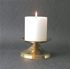 Vintage Beautiful Solid Brass Pillar Candle Holder by PaisleyzPark
