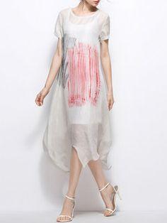 Simple Abstract Asymmetric Short Sleeve Midi Dress