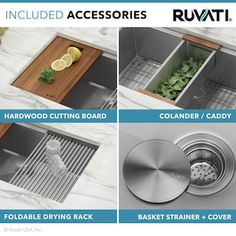 Ruvati Roma 28-in x 19-in Brushed Stainless Steel Single Bowl Undermount Residential Workstation Kitchen Sink in the Kitchen Sinks department at Lowes.com Refinish Kitchen Cabinets, Kitchen Cabinet Doors, Stainless Steel Kitchen, Brushed Stainless Steel, Undermount Stainless Steel Sink, Bowls, Wood Cutting Boards, Wooden Handles, Kitchen Appliances