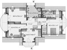 Rzut poddasza projektu Heliodor - murowana – beton komórkowy Tiny Studio Apartments, House Plans, Floor Plans, Houses, Flooring, How To Plan, Two Story Houses, Home Plans, Blue Prints