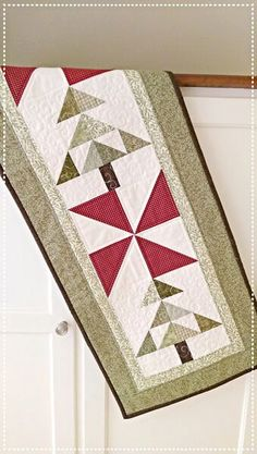 Christmas Tree Table Runner Quilt Pattern PDF Wall Hanging Fast and Easy Scrappy French Country Primitive Winter Holiday