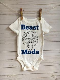 perfect for kids of all ages, display your love for beauty and the beast with this beast mode shirt! The default shirt color is white, but everything is customizable so feel free to let me know how I can make it perfect for you! Disney Onesies, Boy Disney Shirts, Funny Kids Shirts, Disney Baby Clothes, Disney Boys, Baby Shirts, Baby Disney, Disney Baby Outfits, Beast Mode Shirt