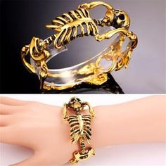 Take your style to the next level with our spooky skeleton bracelet. This unique piece was crafted with stainless steel and can be bought with that clean steel look or with a gold plating. With materi Skeleton Bracelet, Skull Bracelet, Metal Bracelets, Bracelets For Men, Bangle Bracelets, Bangles, Fashion Bracelets, Punk Jewelry, Gold Jewelry