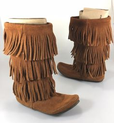 Minnetonka Womens 8 Brown 3 Layer Suede Fringe Mid-Calf Flat Boots 1632 #Minnetonka #MidCalfBoots #Casual