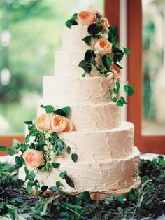 Textured cake with floral detail.