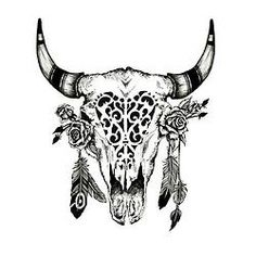 buck skull tattoo flowers - Google Search