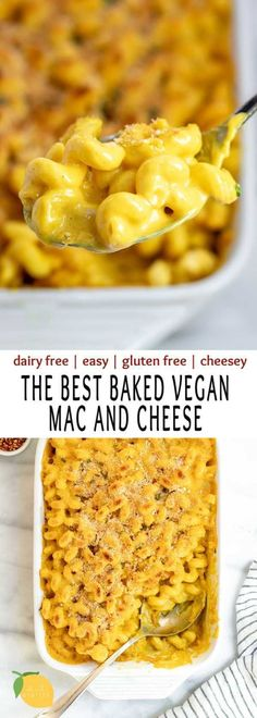 This is the BEST baked vegan mac and cheese around. It's actually cheesy, an easy to make recipe, creamy, rich, and completely dairy free! #veganmacandcheese #bakedveganmacandcheese #macandcheese #eatwithclarty #healthymacandcheese #dairyfreemacandcheese #veganmacandcheeserecipe #veganpastarecipe