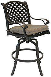 Nassau Outdoor Patio 4 Swivel Barstools 30″ High Cast Aluminum Dark Bronze, Walnut Cushions