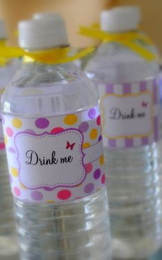 Alice in Wonderland inspired water bottle labels