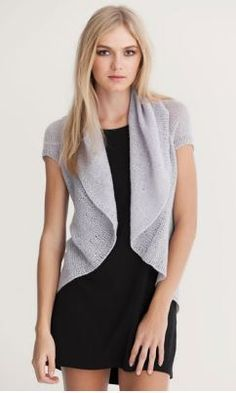 Free knitting pattern for Patons Short Sleeve Cardigan and more draped cardigan knitting patterns