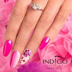 by Paulina Walaszczyk Indigo Educator :) Follow us on Pinterest. Find more inspiration at www.indigo-nails.com #nailart #nails #indigo #ombre #flower #pink
