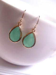 Mint Green Sea Muck Drop Earrings
