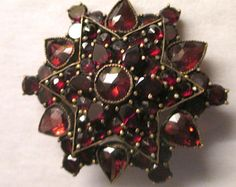 Estate Victorian Gorgeous Genuine Bohemian Garnet Star Pin Brooch antique jewelry merlot garnets