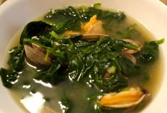 Korean Spinach Soup with Clams and Soybean Sprouts
