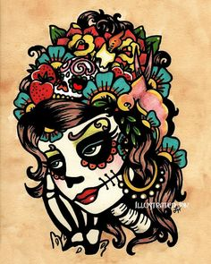 Day of the Dead Art Sugar SKULL BEAUTY 8 x 10 by illustratedink
