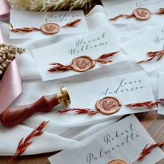 Set of Placecards for Wedding with Wax Seal. Wedding Name Cards, Wedding Table Names, Wedding Place Settings, Diy Wedding Favors, Custom Wedding Invitations, Wedding Decor, Wedding Ideas, Table Name Cards, Fall Wedding