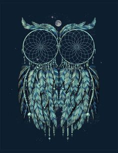 I Found My Next Tattoo! I've Been Wanting A Dream Catcher Tattoo On My Thigh! And I Love Owls!! This Is A Spot On Twist To What I Want!!