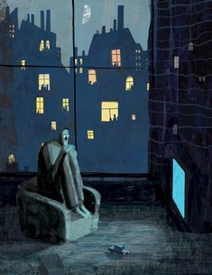 Victoria Semykina....the man is alone and frightened surrounded by buildings full of people.
