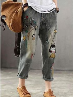 Casual Loose Embroider Women Jeans Pants Denim Pants, Cargo Pants, Women's Pants, Pants Outfit, Pantsuits For Women, Mode Style, Fashion Pants, Pants For Women, Couture
