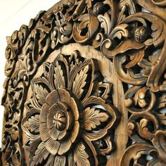 Relief Wandbild Wandbildrelief Teak Holz Blüten 90x90cm