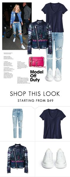 """""""model off duty"""" by im-karla-with-a-k ❤ liked on Polyvore featuring GRLFRND, Patagonia, Sacai, Robert Clergerie and Rebecca Minkoff"""