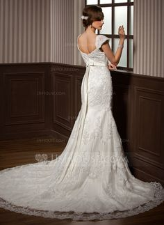 Trumpet/Mermaid Sweetheart Chapel Train Satin Tulle Wedding Dress With Lace Beading Bow(s) (002011374)