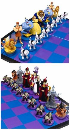 Disney chess!!! I think the lions were supposed to be the horses and Hercules and Hades were supposed to be the tower (due to their strenght).