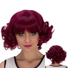 Cosplay Synthetic Short Full Bang Curly Wig