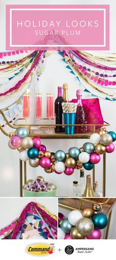 Pop the champagne and toast to the season with a sparkly holiday decorating trend like Sugar Plum by Command™️ Brand and Ampersand Design Studio. This pastel holiday look is refreshing and glittery twist on a traditional holiday color palette. Decorate your bar cart with a DIY ornament garland and adorn your wall with it, too.