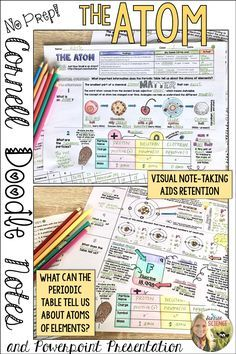 An introduction to the atom and the subatomic particles using two effective note-taking strategies rolled into one- Cornell Doodle Notes!
